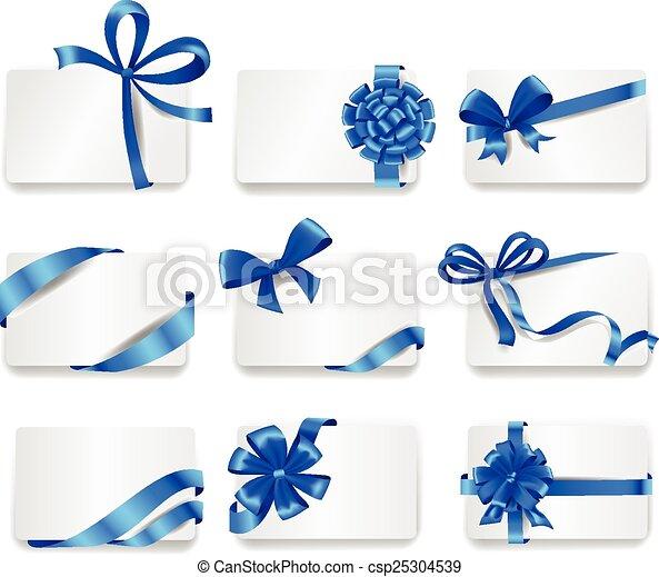 bonito, azul, jogo, presente, bows., cartões - csp25304539