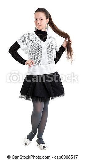 bonito, baixo, cabelo, menina, dela - csp6308517