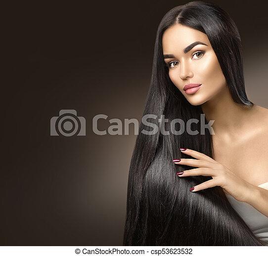 bonito, beleza, saudável, cabelo longo, tocar, hair., menina, modelo - csp53623532