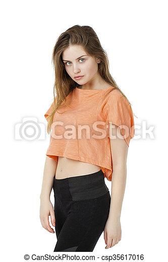 Bonito Blusa Mulher Moda Loura Laranja Modelo