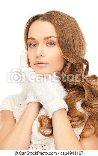 bonito, branca, mulher, luvas - csp4941167