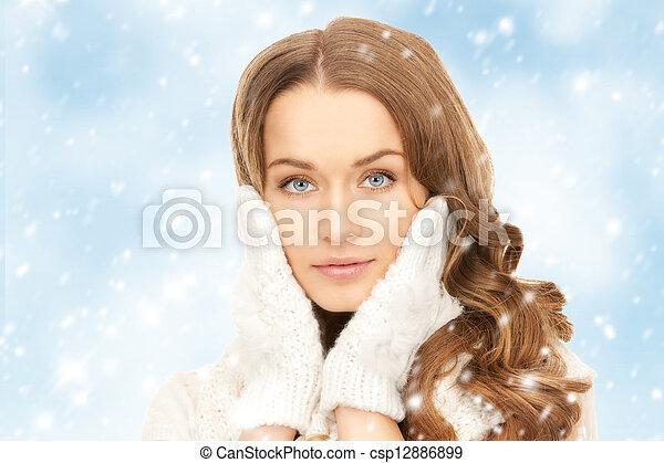 bonito, branca, mulher, luvas - csp12886899
