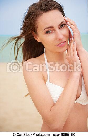 bonito, branca, mulher, swimsuit - csp46065160
