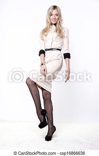bonito, branca, mulher, vestido, loura - csp16866636