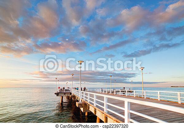 bonito, brzezno, cais, polônia, retro, gdansk, sunset. - csp22397320