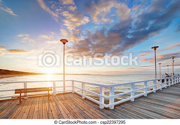 bonito, brzezno, cais, polônia, retro, gdansk, sunset. - csp22397295