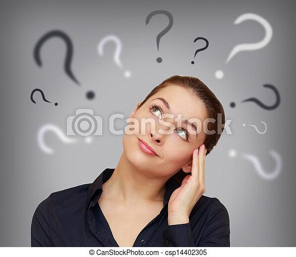 bonito, cabeça, mulher, acima, negócio, pergunta, cinzento, cima, olhar, fundo, marca - csp14402305