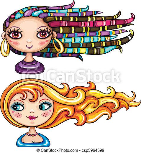 bonito, cabelo, estilos, meninas - csp5964599