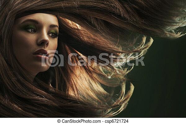 bonito, cabelo marrom, senhora, longo - csp6721724