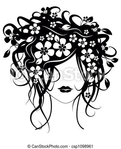 bonito, cabelo, menina, flores - csp1098961