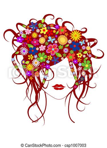 bonito, cabelo, menina, flores - csp1007003