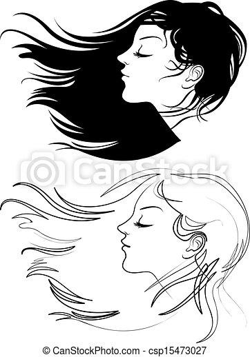 bonito, cabelo, menina, longo - csp15473027