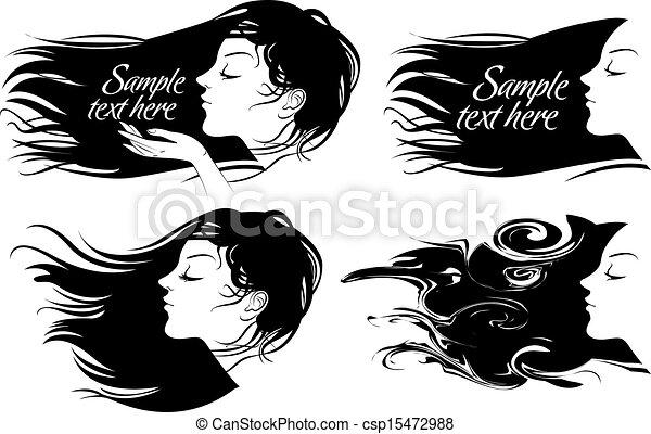 bonito, cabelo, menina, longo - csp15472988