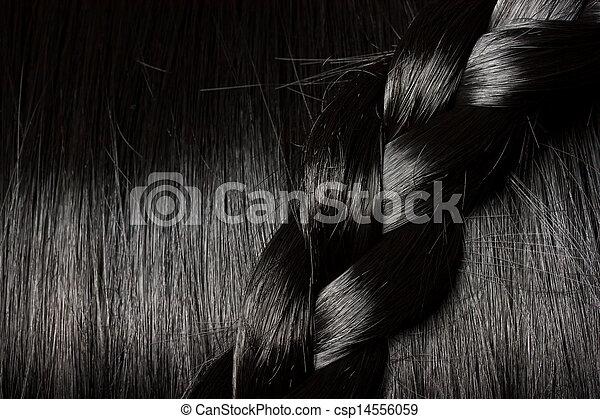 bonito, cabelo, trança, pretas - csp14556059
