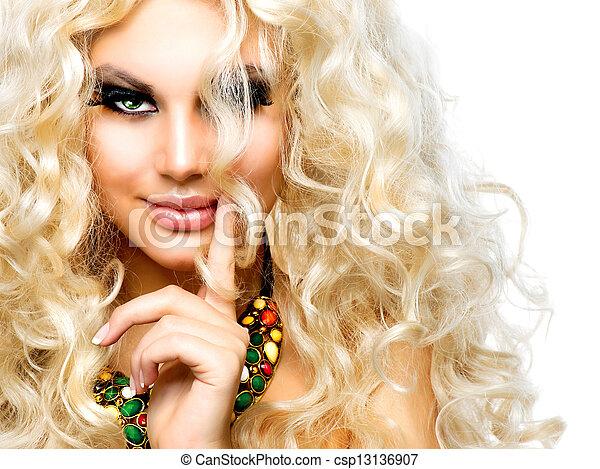bonito, cacheados, isolado, cabelo, loura, menina, branca - csp13136907