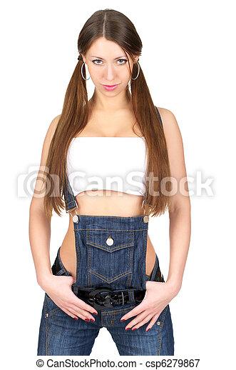 bonito, calças brim, mulher, total, excitado - csp6279867