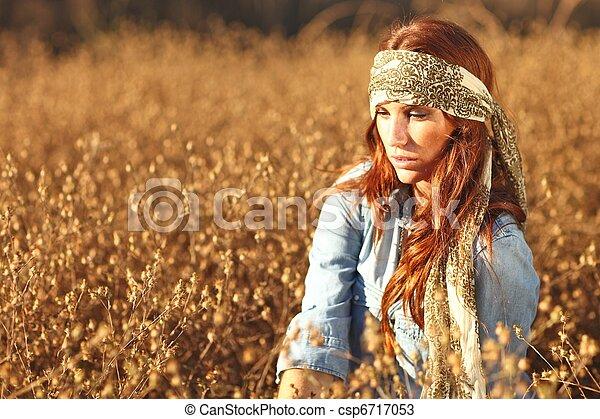 bonito, campo, mulher, verão - csp6717053