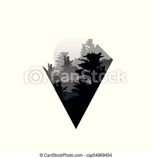 Bonito Cena Cores Desenho Paisagem Floresta Preta Nevoeiro Triângulo Branco Natureza Grande árvores Ilustração Sol Geomãricas ícone