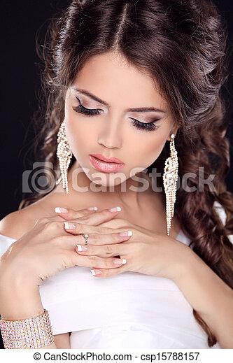 bonito, cima., dress., nails., beleza, noiva, jewelry., fazer, jovem, girl., moda, manicured, retrato, branca - csp15788157