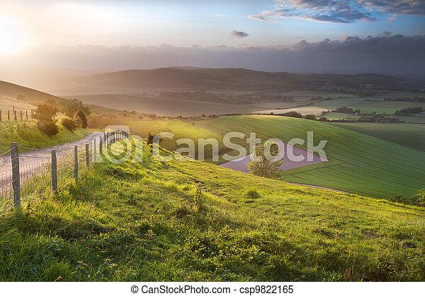 bonito, colinas, campo, sobre, inglês, paisagem rolante - csp9822165