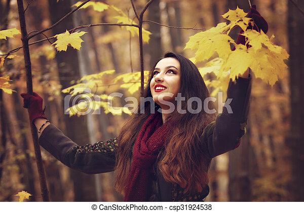 bonito, conceito, jovem, outono, parque, mulher - csp31924538