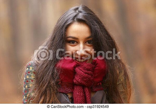 bonito, conceito, jovem, outono, parque, mulher - csp31924549