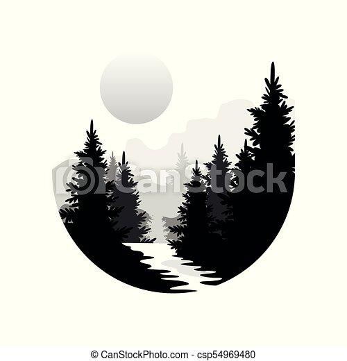Bonito Coniferous Redondo Natural Montanhas árvores Cena Ilustração Branca Cores Vetorial Floresta Preta Sol Natureza Silhuetas