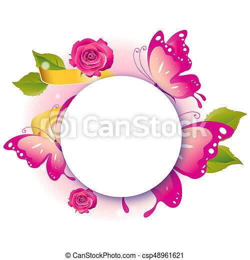 bonito, cor-de-rosa, branca, borboletas, isolado - csp48961621