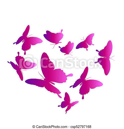 bonito, cor-de-rosa, branca, borboletas, isolado - csp52797168