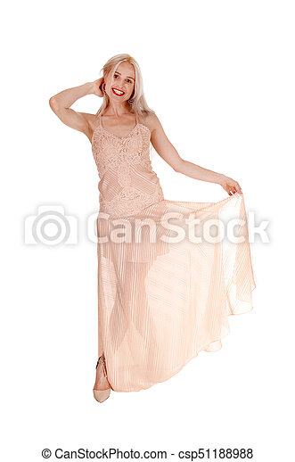 bonito, cor-de-rosa, mulher, vestido, loura - csp51188988