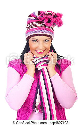 bonito, cor-de-rosa, mulher, woolen, boné, silenciador - csp4807103