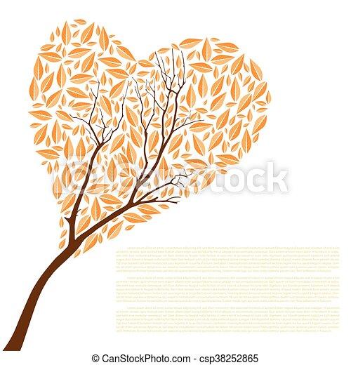 bonito, coração, árvore, outono, forma, desenho, seu - csp38252865