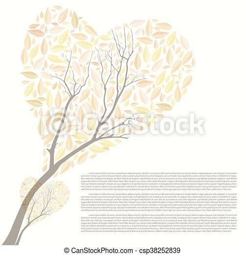 bonito, coração, árvore, outono, forma, desenho, seu - csp38252839