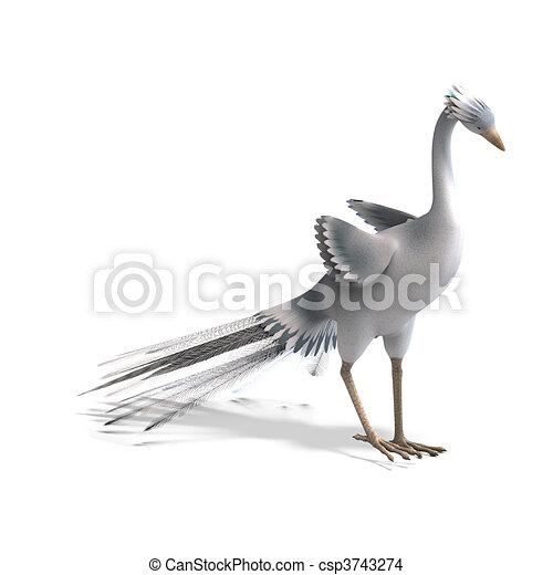 bonito, cortando, fantasia, sobre, feathers., pássaro, fazendo, caminho, sombra, branca, 3d - csp3743274