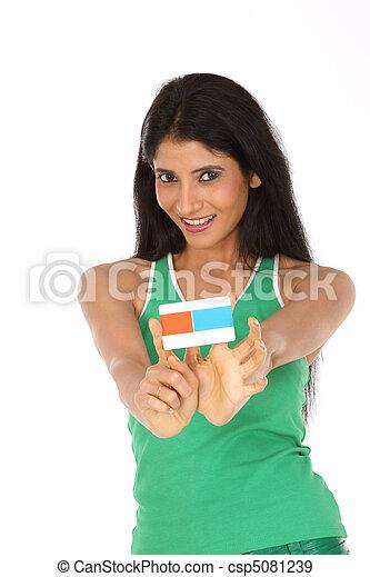 bonito, crédito, mulher, cartão - csp5081239
