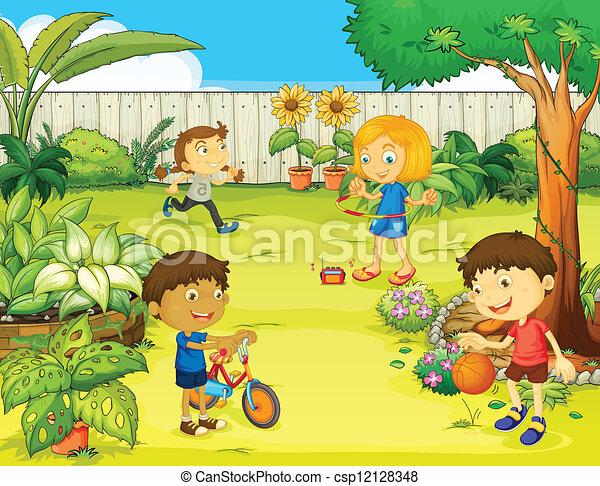 bonito, crianças, tocando, natureza - csp12128348