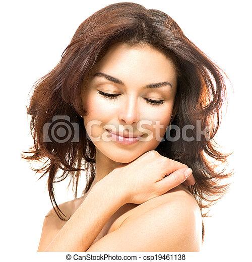 bonito, dela, beleza, jovem, tocar, femininas, pele, woman. - csp19461138