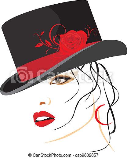 bonito, elegante, mulher, chapéu - csp9802857