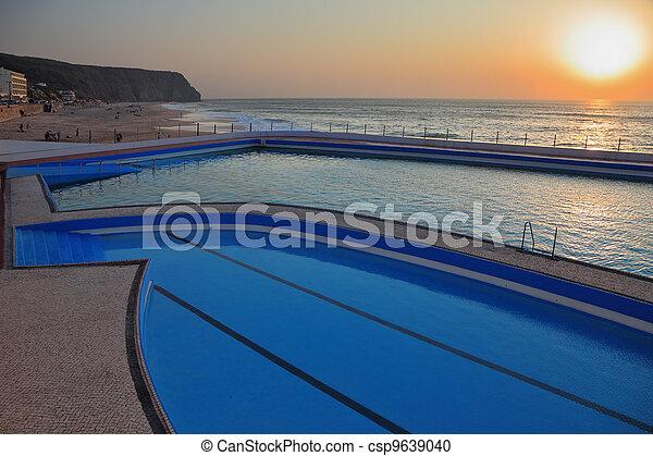 bonito, enorme, costa, atlântico, praia, piscina - csp9639040