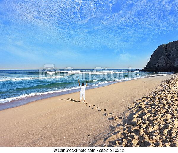 bonito, enorme, praia, costa atlântica - csp21910342