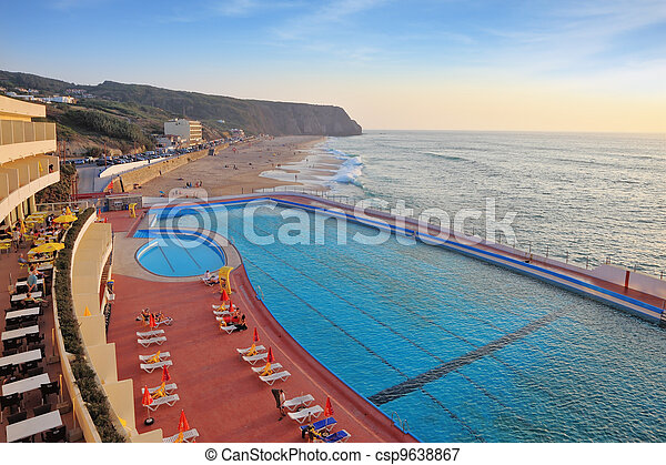 bonito, enorme, praia, piscina - csp9638867