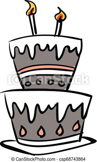 bonito, esboço, cor, velas, ilustração, desenho, glowing, vetorial, bolo, ou, celebração - csp68743864