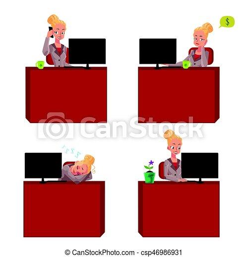 bonito, escritório, sentando, executiva, jovem, escrivaninha - csp46986931