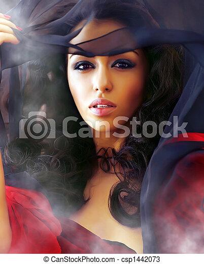 bonito, excitado, clubes, mulher, fumaça - csp1442073