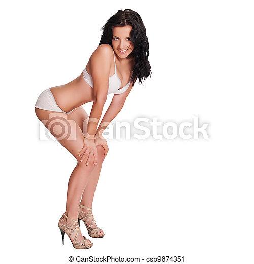 bonito, excitado, mulher, langerie - csp9874351