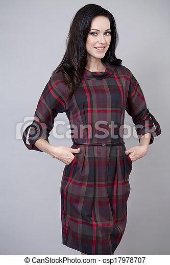 bonito, excitado, mulher, vestido, vermelho - csp17978707