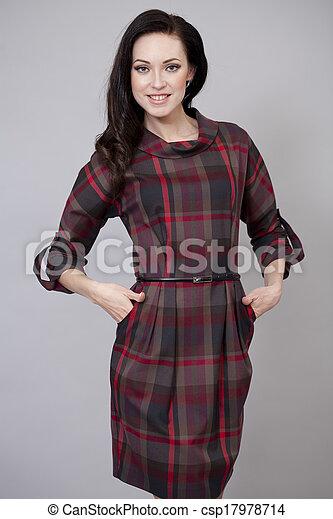 bonito, excitado, mulher, vestido, vermelho - csp17978714