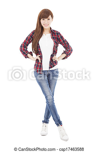 bonito, ficar, cheio, jovem, comprimento, mulher - csp17463588