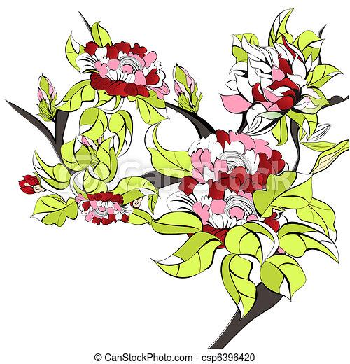bonito, flores, árvore - csp6396420