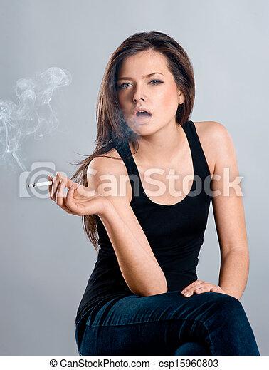 bonito, fumar, menina, cigarro - csp15960803